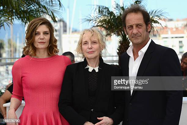 Actress Chiara Mastroianni director Claire Denis and actor Vincent Lindon attend the photocall for 'Les Salauds' during The 66th Annual Cannes Film...