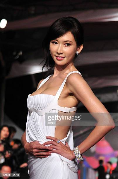 Actress Chiling Lin arrives at the red carpet of the 49th Golden Horse Awards at the Luodong Cultural Working House on November 24 2012 in Ilan Taiwan