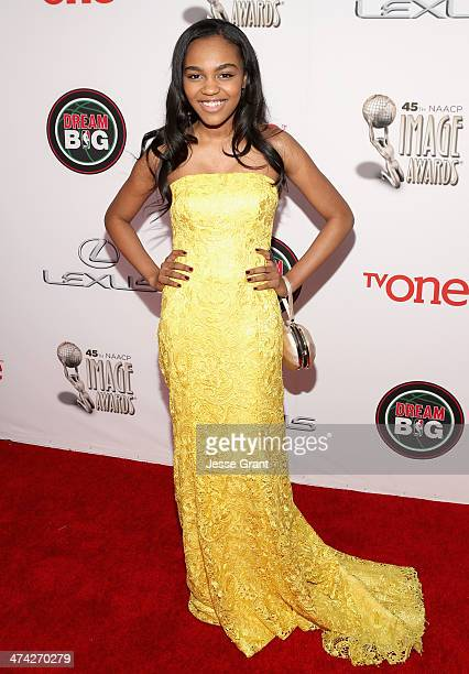 Actress China Anne McClain attends the 45th NAACP Image Awards presented by TV One at Pasadena Civic Auditorium on February 22 2014 in Pasadena...