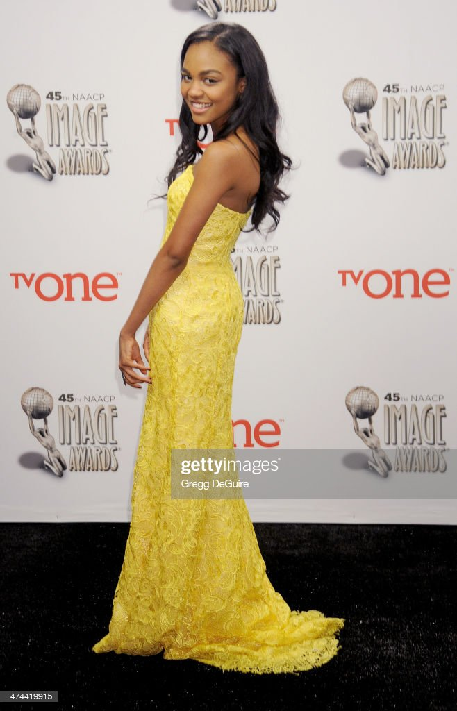 Actress China Anne McClain poses in the press room at the 45th NAACP Image Awards at Pasadena Civic Auditorium on February 22 2014 in Pasadena...
