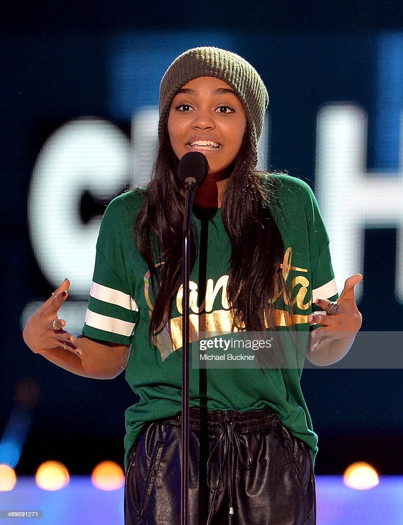 Actress China Anne McClain speaks onstage during Cartoon Network's fourth annual Hall of Game Awards at Barker Hangar on February 15, 2014 in Santa Monica, California.