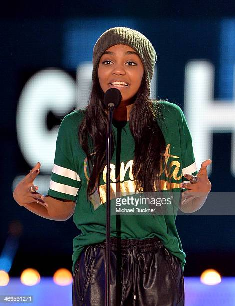 Actress China Anne McClain speaks onstage during Cartoon Network's fourth annual Hall of Game Awards at Barker Hangar on February 15 2014 in Santa...