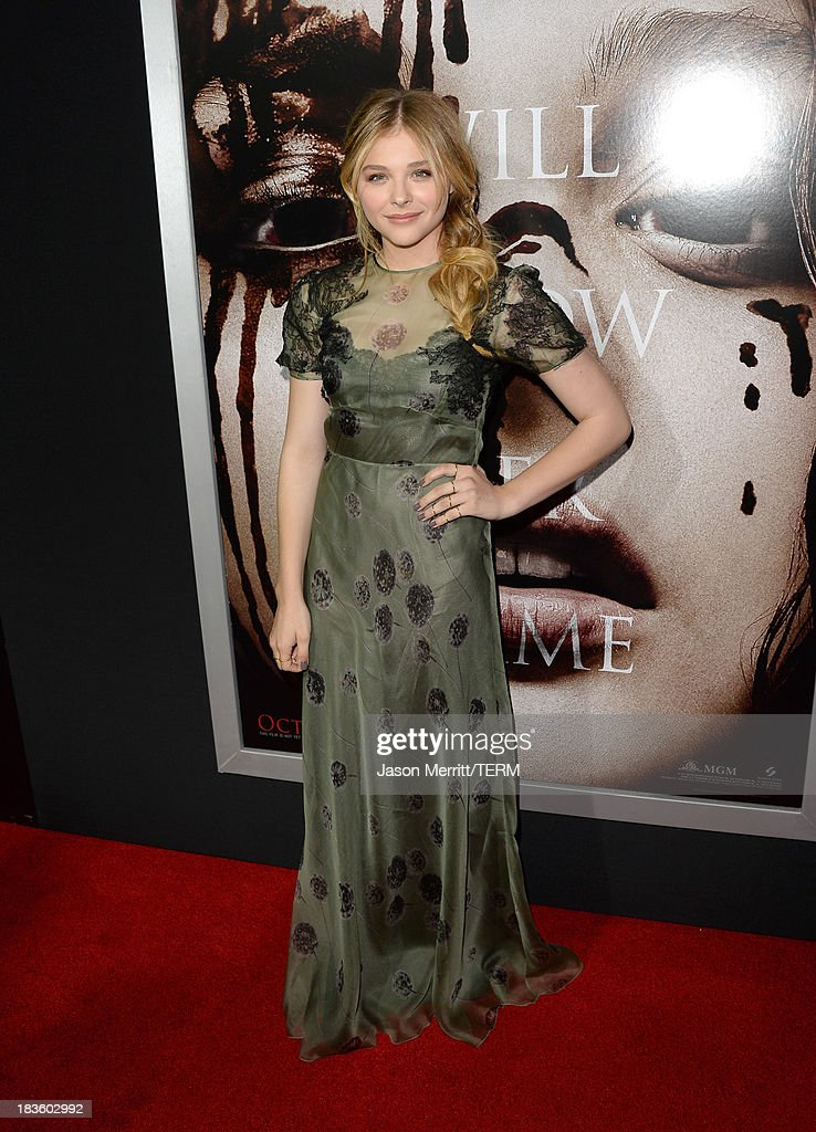 Actress <a gi-track='captionPersonalityLinkClicked' href=/galleries/search?phrase=Chlo%C3%AB+Grace+Moretz&family=editorial&specificpeople=856948 ng-click='$event.stopPropagation()'>Chloë Grace Moretz</a> arrives at the premiere of Metro-Goldwyn-Mayer Pictures & Screen Gems' 'Carrie' at ArcLight Cinemas on October 7, 2013 in Hollywood, California.