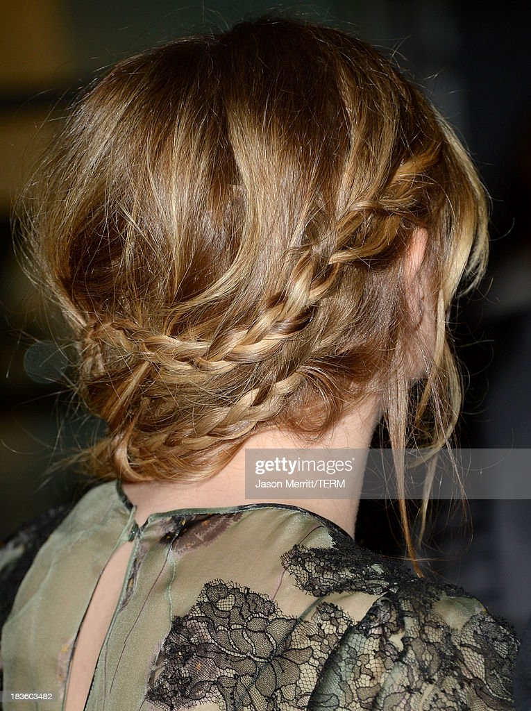 Actress Chloë Grace Moretz (hair detail) arrives at the premiere of Metro-Goldwyn-Mayer Pictures & Screen Gems' 'Carrie' at ArcLight Cinemas on October 7, 2013 in Hollywood, California.