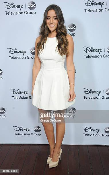 Actress Chloe Bennet arrives at the ABC/Disney TCA Winter Press Tour party at The Langham Huntington Hotel and Spa on January 17 2014 in Pasadena...