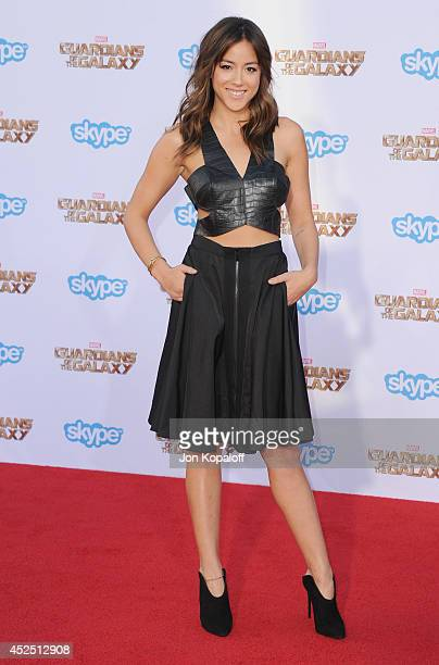 Actress Chloe Bennet arrives at the Los Angeles Premiere 'Guardians Of The Galaxy' at the El Capitan Theatre on July 21 2014 in Hollywood California