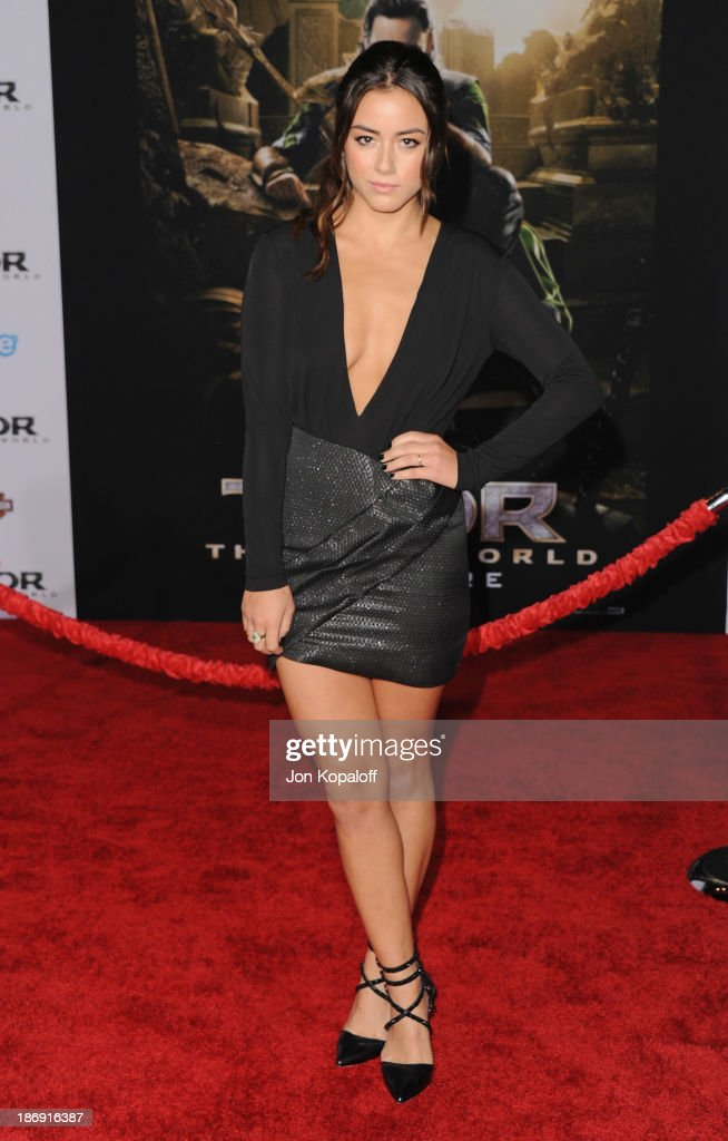 Actress Chloe Bennet arrives at the Los Angeles Premiere 'Thor: The Dark World' at the El Capitan Theatre on November 4, 2013 in Hollywood, California.