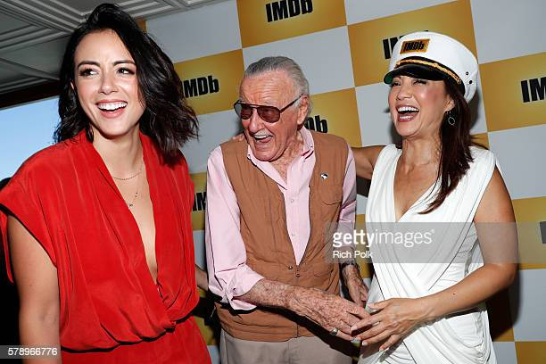 Actress Chloe Bennet writer Stan Lee and actress MingNa Wen attend the IMDb Yacht at San Diego ComicCon 2016 Day Two at The IMDb Yacht on July 22...