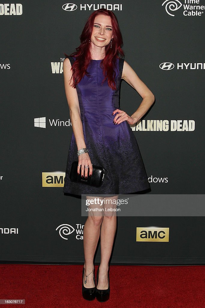 Actress <a gi-track='captionPersonalityLinkClicked' href=/galleries/search?phrase=Chloe+Dykstra&family=editorial&specificpeople=6865517 ng-click='$event.stopPropagation()'>Chloe Dykstra</a> attends the AMC's 'The Walking Dead' - Season 4 Premiere Party at AMC Universal City Walk on October 3, 2013 in Universal City, California.