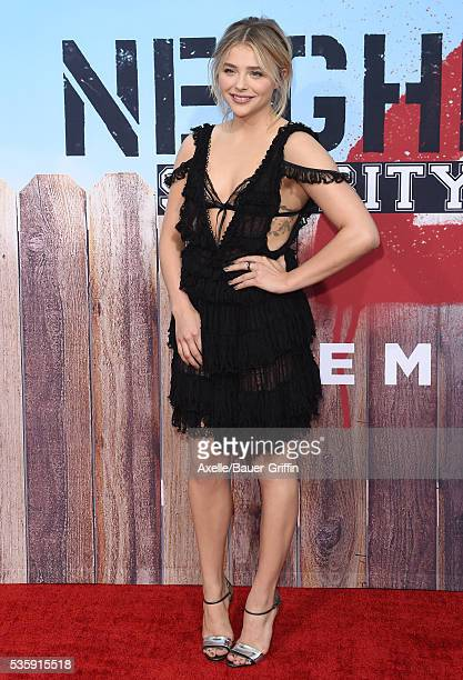 Actress Chloe Grace Moretz arrives at the premiere of Universal Pictures' 'Neighbors 2 Sorority Rising' on May 16 2016 in Westwood California
