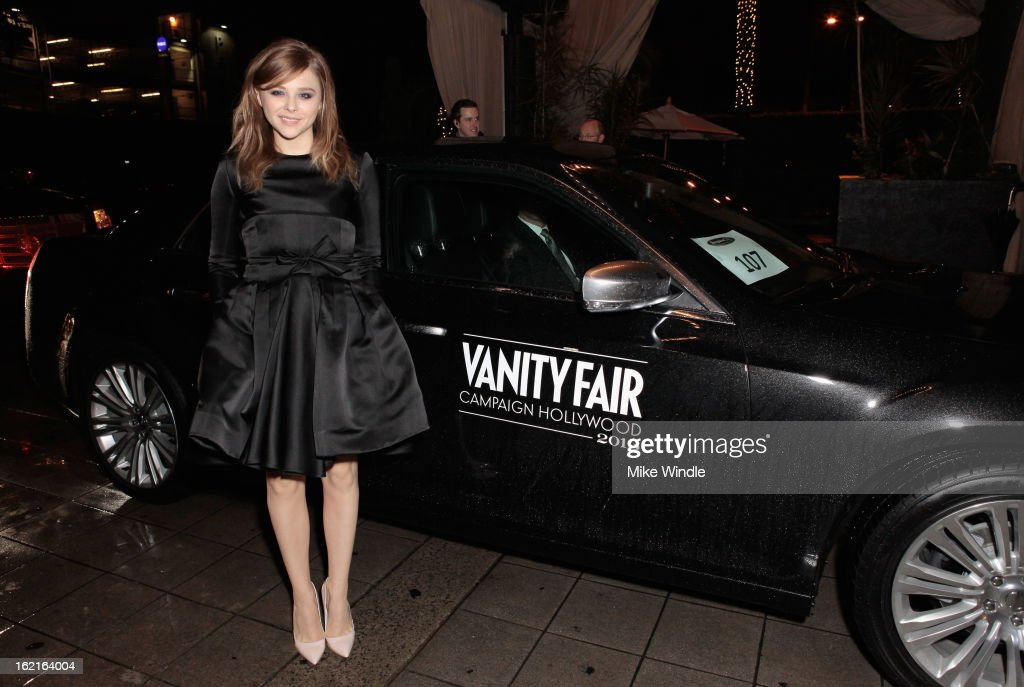 Actress <a gi-track='captionPersonalityLinkClicked' href=/galleries/search?phrase=Chloe+Grace+Moretz&family=editorial&specificpeople=856948 ng-click='$event.stopPropagation()'>Chloe Grace Moretz</a> attends Vanity Fair and L'Oréal Paris-hosted D.J. Night with Freida Pinto in support of 10 x 10 and 'Girl Rising' at Teddy's at The Hollywood Roosevelt Hotel on February 19, 2013 in Los Angeles, California.