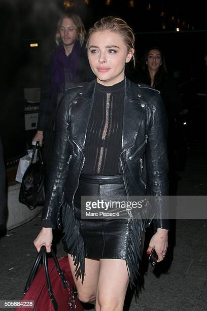 Actress Chloe Grace Moretz is seen at 'Gare du Nord' station on January 20 2016 in Paris France