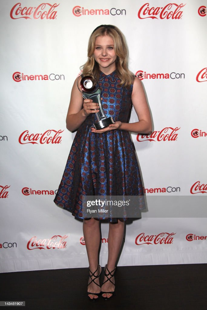 Actress Chloe Grace Moretz, recipient of the Female Star of Tomorrow Award, arrives at the CinemaCon awards ceremony at the Pure Nightclub at Caesars Palace during CinemaCon, the official convention of the National Association of Theatre Owners, April 26, 2012 in Las Vegas, Nevada.