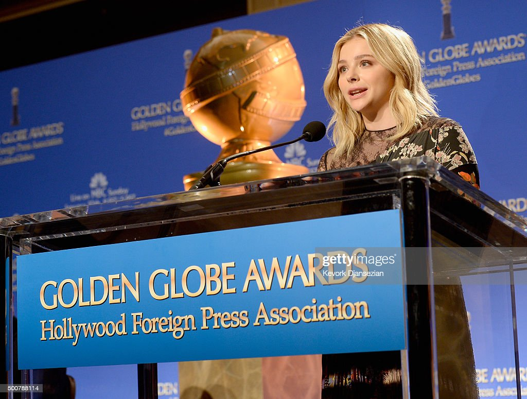 Actress Chloe Grace Moretz speaks onstage at the 73rd Annual Golden Globe Awards Nominations Announcement at The Beverly Hilton Hotel on December 10...