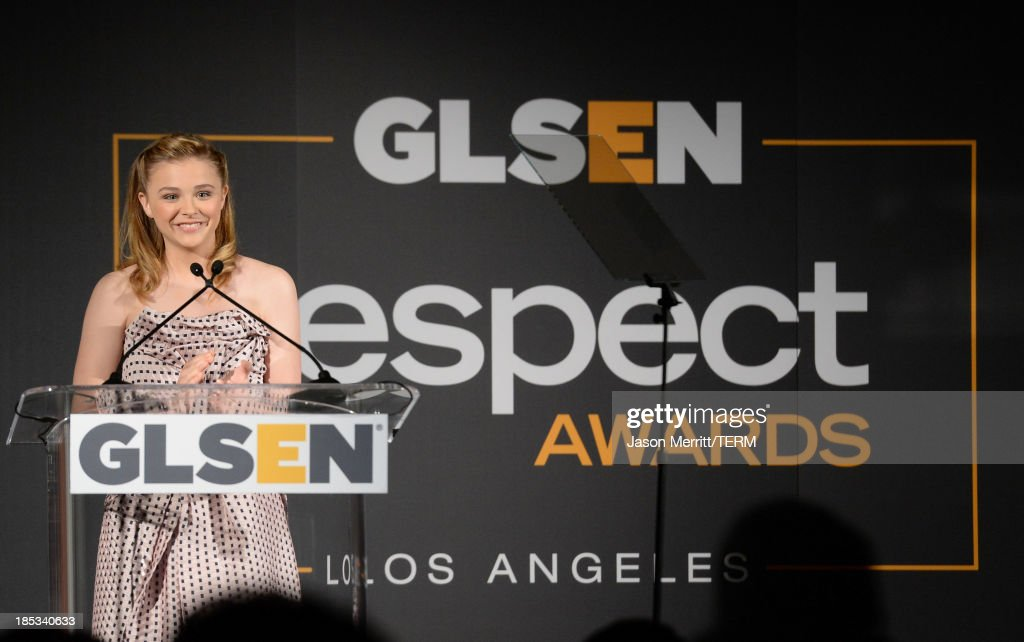 Actress Chloe Grace Moretz speaks onstage during the 9th Annual GLSEN Respect Awards at Beverly Hills Hotel on October 18, 2013 in Beverly Hills, California.