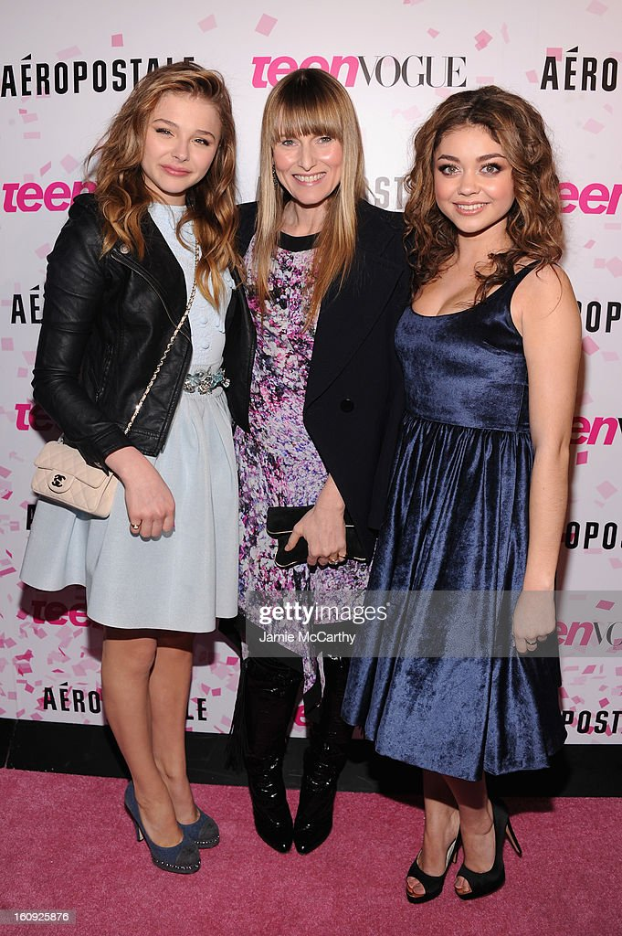 Actress Chloe Grace Moretz, Teen Vogue Editor-in-Chief Amy Astley and actress Sarah Hyland attend the 10th Anniversary of Teen Vogue and Aeropostale's Celebration of Chloe Grace Moretz's Sweet 16 at Aeropostale Times Square on February 7, 2013 in New York City.