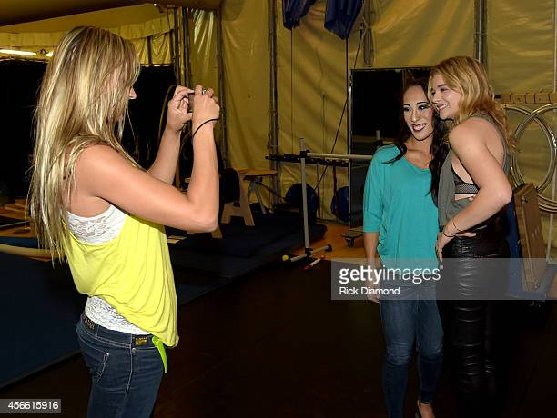 Actress Chloe Grace Moretz 'The Equalizer' chats with performers backstage after Amaluna's opening night at the Big Top at Atlantic Station on...