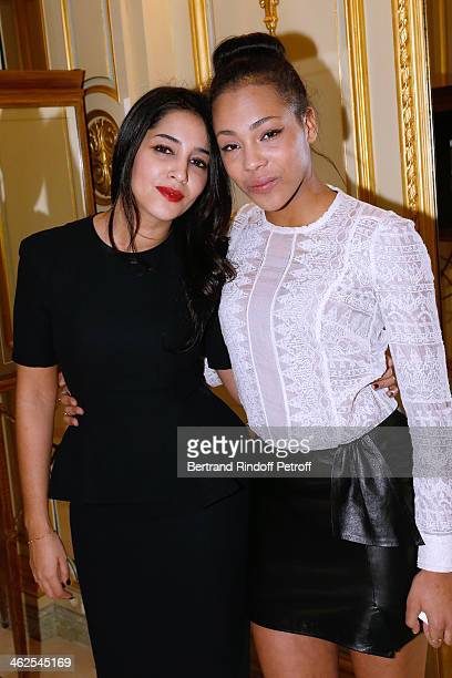 Actress Chloe Lecerf sponsored by actress Leila Bekhti at the Chaumet's Cocktail Party for Cesar's Revelations 2014 at Musee Chaumet followed by a...