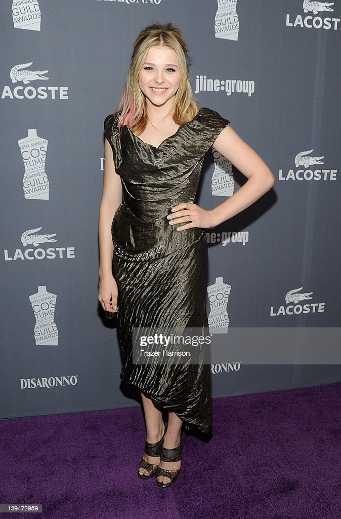 Actress Chloe Moretz arrives at the 14th Annual Costume Designers Guild Awards With Presenting Sponsor Lacoste held at The Beverly Hilton hotel on February 21, 2012 in Beverly Hills, California.