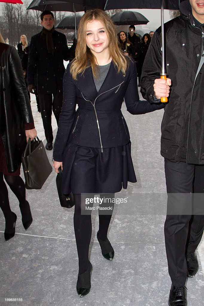 Actress Chloe Moretz is seen leaving the Christian Dior Spring/Summer 2013 Haute-Couture show as part of Paris Fashion Week at on January 21, 2013 in Paris, France.