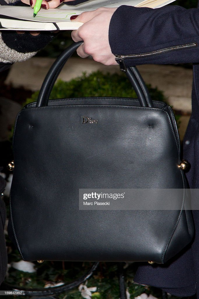 Actress Chloe Moretz (Dior handbag detail) is seen leaving the 'Plaza Athenee' hotel on January 21, 2013 in Paris, France.