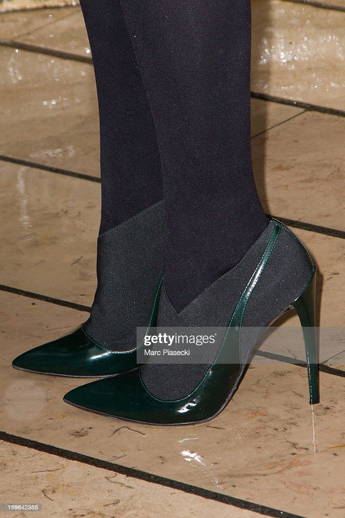 Actress Chloe Moretz (shoe detail) is seen leaving the 'Plaza Athenee' hotel on January 21, 2013 in Paris, France.