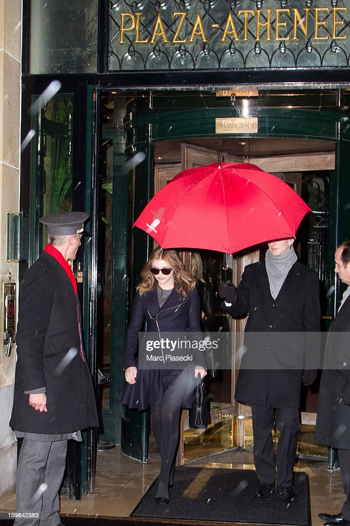 Actress Chloe Moretz is seen leaving the 'Plaza Athenee' hotel on January 21, 2013 in Paris, France.