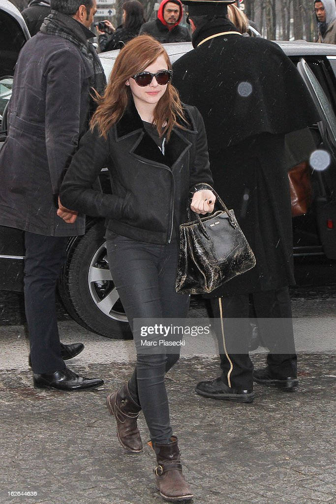 Actress Chloe Moretz is sighted at Aeroport Roissy - Charles de Gaulle on February 25, 2013 in Paris, France.