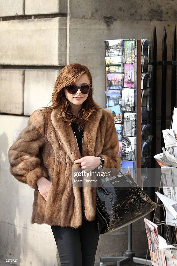 Actress Chloe Moretz is sighted on the 'Place de la Concorde' on February 26, 2013 in Paris, France.