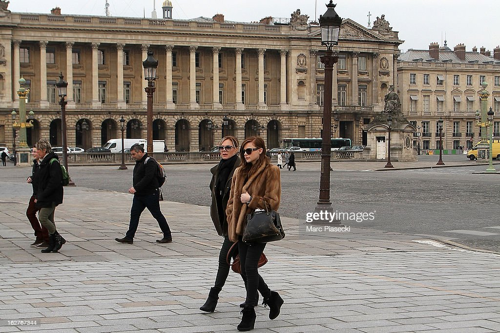 Actress Chloe Moretz (R) is sighted on the 'Place de la Concorde' on February 26, 2013 in Paris, France.