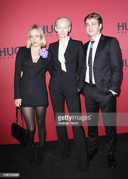 Actress Chloe Sevigny actress Tilda Swinton and actor Hayden Christensen attend the Hugo Boss Show during the Mercedes Benz Fashion Week...