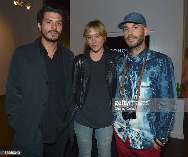 Actress Chloe Sevigny and filmmaker Tom Kuntz attend the 'Bugs' exhibition opening at Sonos Studio on April 4 2013 in Los Angeles California
