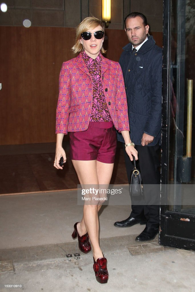 Actress <a gi-track='captionPersonalityLinkClicked' href=/galleries/search?phrase=Chloe+Sevigny&family=editorial&specificpeople=201550 ng-click='$event.stopPropagation()'>Chloe Sevigny</a> is seen leaving the Miu Miu Spring/Summer 2013 show as part of Paris Fashion Week on October 3, 2012 in Paris, France.