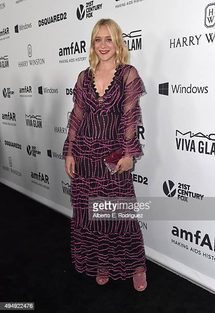 Actress Chloe Sevigny wearing Gucci attends amfAR's Inspiration Gala Los Angeles at Milk Studios on October 29 2015 in Hollywood California