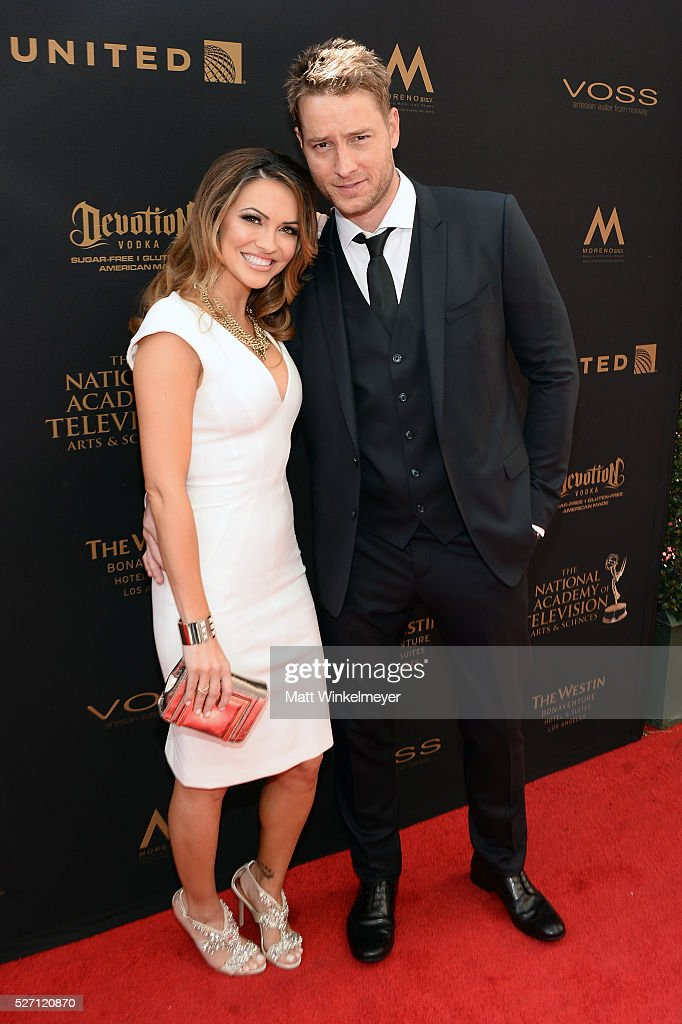 Actress <a gi-track='captionPersonalityLinkClicked' href=/galleries/search?phrase=Chrishell+Stause&family=editorial&specificpeople=675283 ng-click='$event.stopPropagation()'>Chrishell Stause</a> (L) and Actor Justin Hartley walk the red carpet at the 43rd Annual Daytime Emmy Awards at the Westin Bonaventure Hotel on May 1, 2016 in Los Angeles, California.
