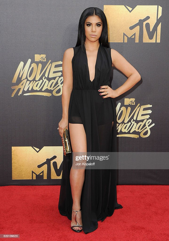 Actress Chrissie Fit arrives at the 2016 MTV Movie Awards at Warner Bros Studios on April 9 2016 in Burbank California