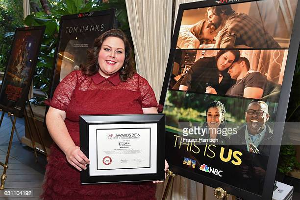 Actress Chrissy Metz poses with award during the 17th annual AFI Awards at Four Seasons Los Angeles at Beverly Hills on January 6 2017 in Los Angeles...