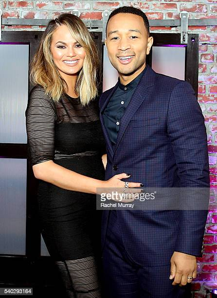 Actress Chrissy Teigen and Recording artist John Legend attend the FYC Event Spike's 'Lip Sync Battle' at Saban Media Center on June 14 2016 in North...