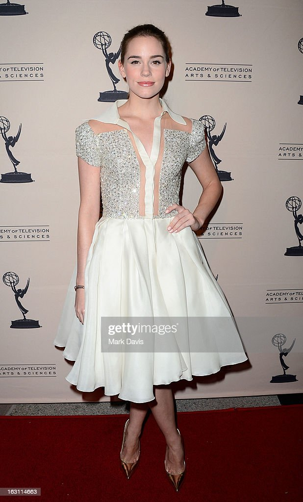 Actress <a gi-track='captionPersonalityLinkClicked' href=/galleries/search?phrase=Christa+B.+Allen+-+Actress+-+Born+1991&family=editorial&specificpeople=4409701 ng-click='$event.stopPropagation()'>Christa B. Allen</a> arrives at the Academy of Television Arts & Sciences Presents An Evening With 'Revenge' at the Leonard H. Goldenson Theater held at the Academy of Television Arts & Sciences on March 4, 2013 in North Hollywood, California.