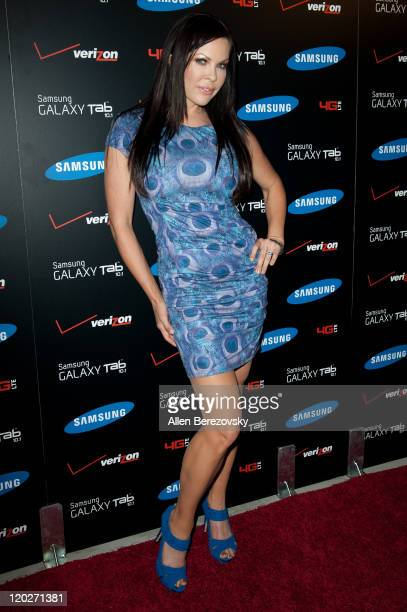 Actress Christa Campbell arrives at the Samsung Galaxy Tab 101 launch party at The Beverly on August 2 2011 in Los Angeles California