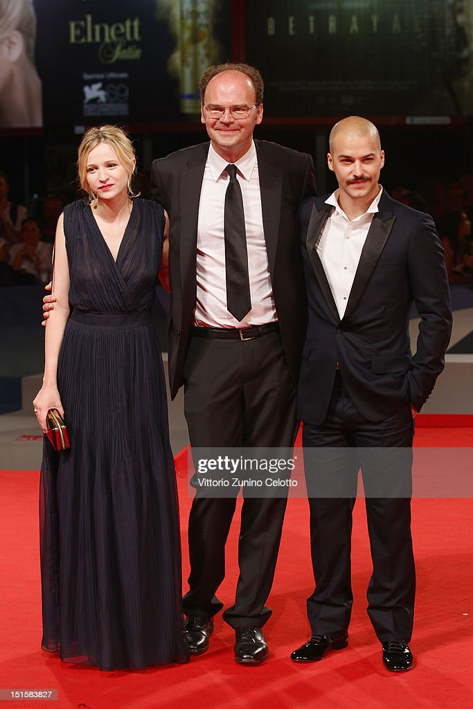 Actress Christa Theret, director Jean-Pierre Ameris and actor Marc-Andre Grondin attend the 'L'Homme Qui Rit' Premiere during the 69th Venice Film Festival at the Palazzo del Cinema on September 8, 2012 in Venice, Italy.