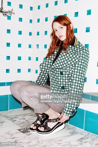 Actress Christa Theret is photographed for Madame Figaro on December 18 2015 in Paris France Coat turtleneck and pants sandals PUBLISHED IMAGE CREDIT...