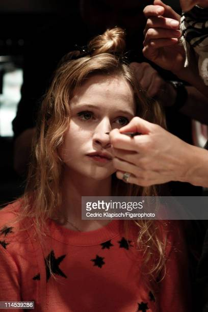 Actress Christa Theret is photographed for Madame Figaro on March 29 2011 in Paris France Published image Figaro ID 100351030 Sweater by Sonia Rykiel...