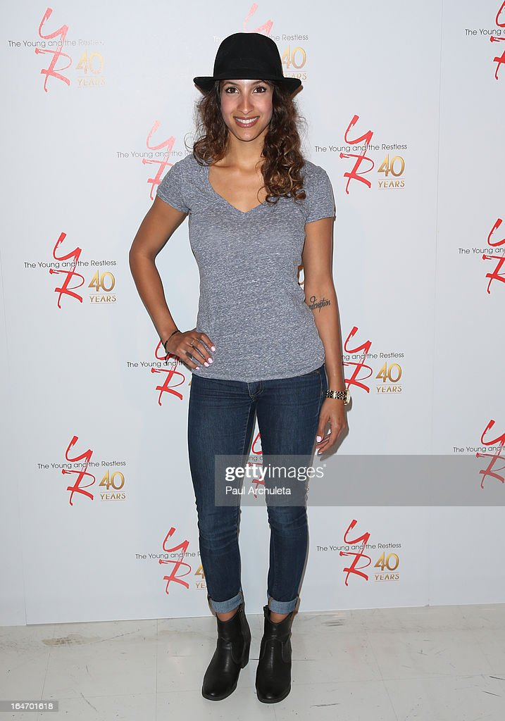 Actress <a gi-track='captionPersonalityLinkClicked' href=/galleries/search?phrase=Christel+Khalil&family=editorial&specificpeople=241522 ng-click='$event.stopPropagation()'>Christel Khalil</a> attends 'The Young & The Restless' 40th anniversary cake cutting ceremony at CBS Television City on March 26, 2013 in Los Angeles, California.