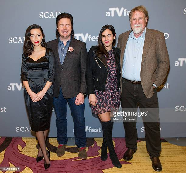Actress Christian Serratos actor Josh McDermitt actress Alanna Masterson and Executive Producer Tom Luce attend 'The Walking Dead' event during SCAD...