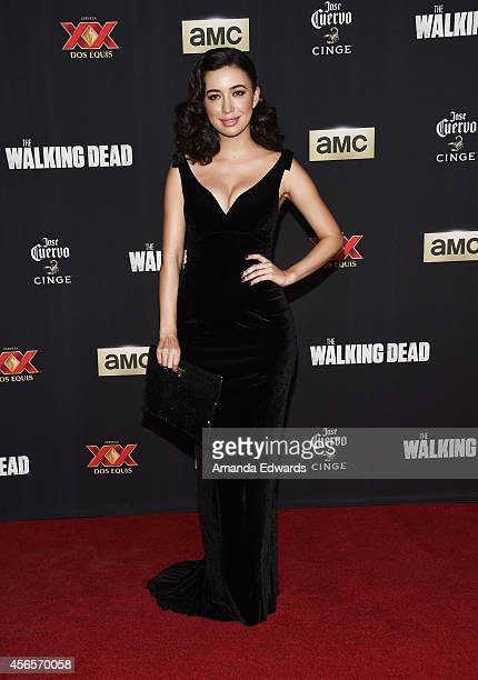 Actress Christian Serratos arrives at the Season 5 premiere of AMC's 'The Walking Dead' at AMC Universal City Walk on October 2 2014 in Universal...