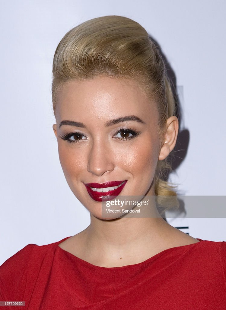 Actress Christian Serratos attends fashion designer Kevan Hall's Spring 2013 Collection on December 5, 2012 in Los Angeles, California.