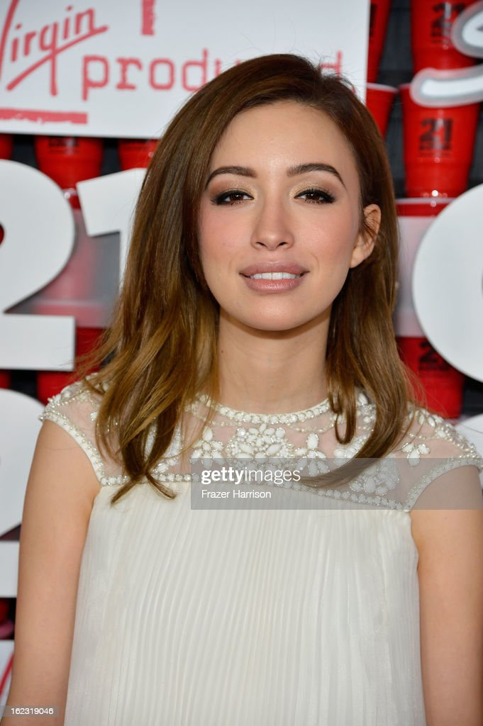Actress <a gi-track='captionPersonalityLinkClicked' href=/galleries/search?phrase=Christian+Serratos&family=editorial&specificpeople=709188 ng-click='$event.stopPropagation()'>Christian Serratos</a> attends Relativity Media's '21 and Over' premiere at Westwood Village Theatre on February 21, 2013 in Westwood, California.