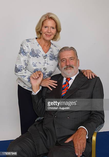 Actress Christiane Hoerbiger and Gerhard Toetschinger attend a photocall for her 75th birthday at Hotel Atlantic on September 2 2013 in Hamburg...