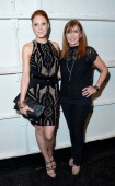 Actress Christiane Seidel and designer Nicole Miller pose backstage at the Nicole Miller Spring 2014 fashion show during MercedesBenz Fashion Week at...